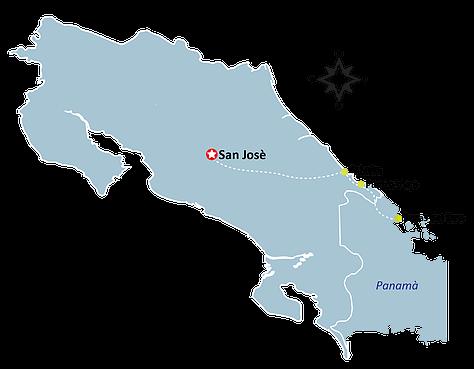Mapa San Jose - Puerto Viejo - Cahuita