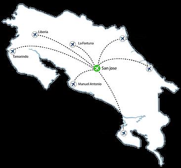 San Josè Flights Map 1 - San Jose Flights