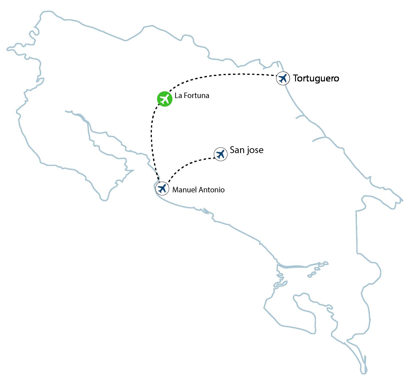 map la fortuna 01 - La Fortuna Flights