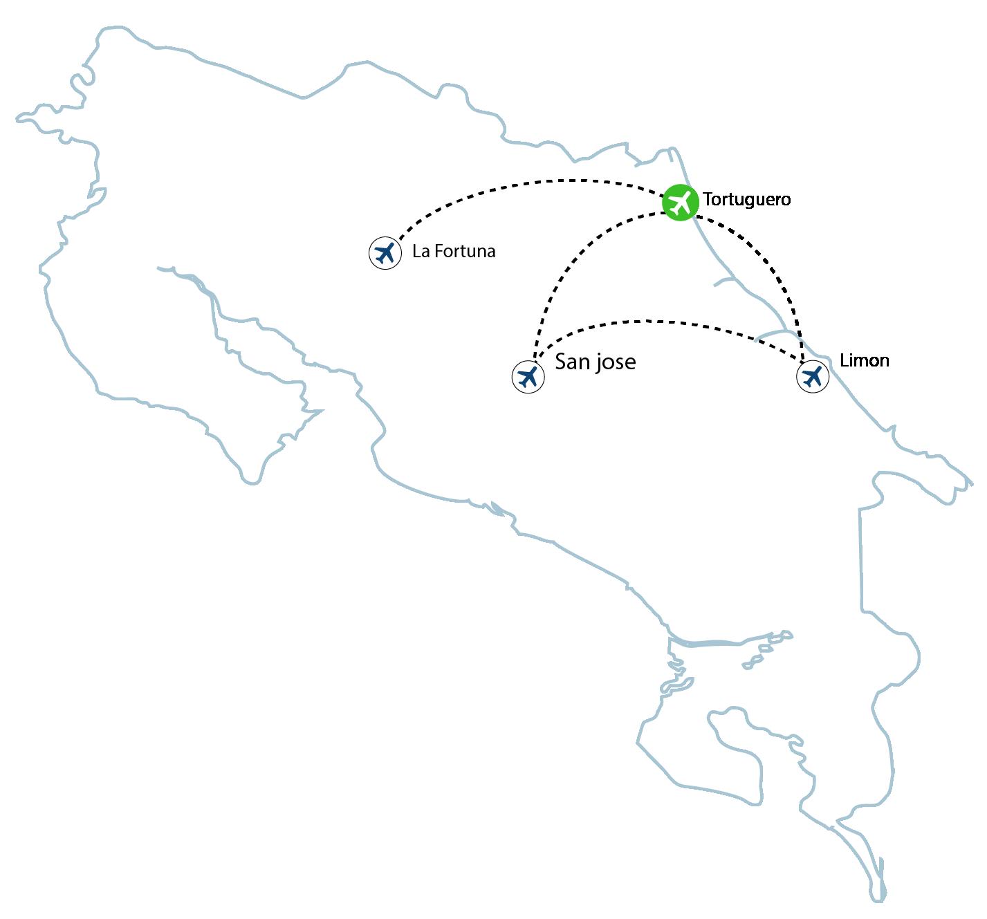 map tortuguero 01 - Tortuguero Flights